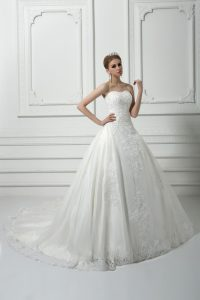 White Ball Gowns Tulle Sweetheart Sleeveless Beading and Lace Lace Up Wedding Dress Court Train
