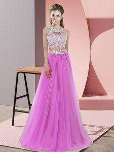 Lilac Sleeveless Floor Length Lace Zipper Quinceanera Dama Dress