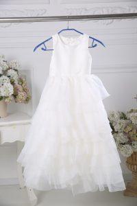 Empire Flower Girl Dresses White Scoop Chiffon Sleeveless Floor Length Zipper