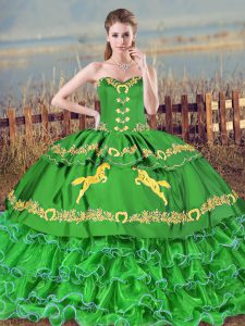 Exceptional Green Sweetheart Neckline Embroidery and Ruffled Layers 15th Birthday Dress Sleeveless Lace Up