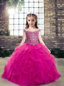 Unique Floor Length Ball Gowns Sleeveless Fuchsia Little Girls Pageant Gowns Lace Up