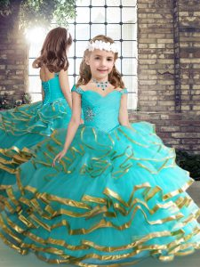 Aqua Blue Ball Gowns Straps Sleeveless Tulle Floor Length Lace Up Beading and Ruching Kids Pageant Dress