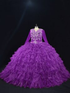Amazing Purple Ball Gowns V-neck Long Sleeves Organza Floor Length Lace Up Beading and Ruffled Layers 15th Birthday Dres
