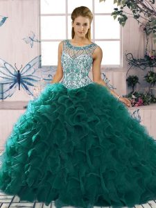 Floor Length Ball Gowns Sleeveless Peacock Green 15th Birthday Dress Lace Up