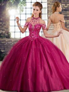 Exquisite Sleeveless Brush Train Beading Lace Up 15th Birthday Dress