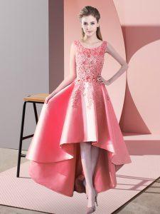 Artistic High Low A-line Sleeveless Watermelon Red Vestidos de Damas Zipper