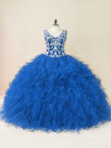 Ball Gowns Sleeveless Blue Sweet 16 Quinceanera Dress Backless