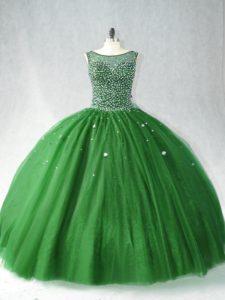Zipper Vestidos de Quinceanera Dark Green for Sweet 16 and Quinceanera with Beading Brush Train