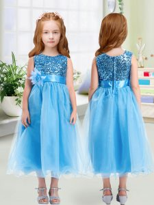 Colorful Sleeveless Organza Tea Length Zipper Flower Girl Dresses for Less in Baby Blue with Sequins and Hand Made Flowe