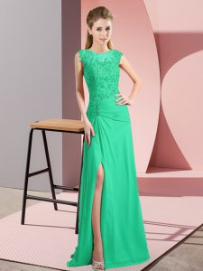 Turquoise Prom Party Dress Prom and Party and Military Ball with Beading Scoop Sleeveless Zipper