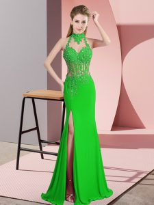 Green Column/Sheath Chiffon Halter Top Sleeveless Lace and Appliques Floor Length Backless Prom Dresses