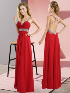 Suitable Red Empire Beading Dress for Prom Criss Cross Chiffon Sleeveless Floor Length