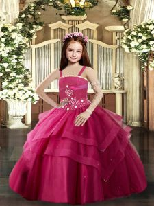Perfect Red Straps Neckline Beading Kids Formal Wear Sleeveless Lace Up