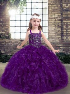 Eggplant Purple Lace Up Straps Beading and Ruffles Girls Pageant Dresses Organza Sleeveless
