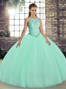 Floor Length Ball Gowns Sleeveless Apple Green Sweet 16 Quinceanera Dress Lace Up