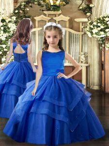 Scoop Sleeveless Kids Pageant Dress Floor Length Ruffled Layers Royal Blue Tulle