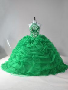 Halter Top Sleeveless Tulle Quinceanera Gowns Beading and Pick Ups Court Train Lace Up