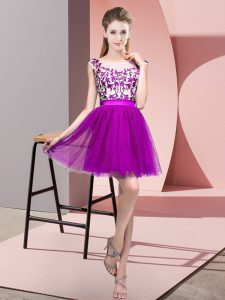 Purple Sleeveless Lace Mini Length Court Dresses for Sweet 16