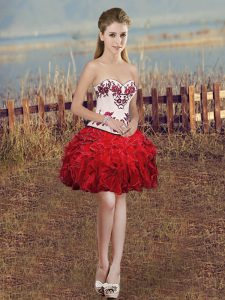 Ball Gowns Prom Evening Gown Red Sweetheart Organza Sleeveless Mini Length Lace Up
