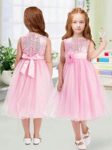 Scoop Sleeveless Zipper Toddler Flower Girl Dress Rose Pink Organza