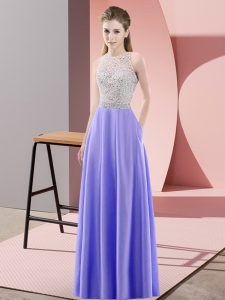 Scoop Sleeveless Backless Prom Evening Gown Lavender Satin