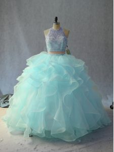 High Quality Scoop Sleeveless Vestidos de Quinceanera Beading and Ruffles Backless