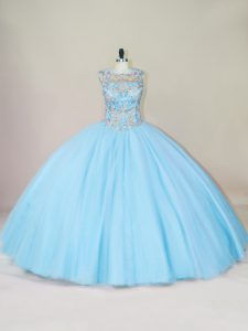 Lovely Blue Ball Gowns Beading Quinceanera Gown Lace Up Tulle Sleeveless Floor Length