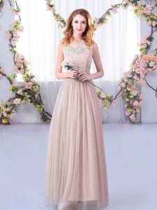 Pink Empire Lace and Belt Dama Dress for Quinceanera Side Zipper Tulle Sleeveless Floor Length