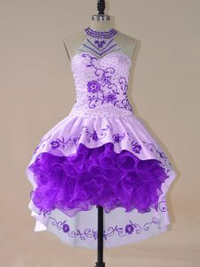 Attractive Purple Ball Gowns Embroidery and Ruffles Evening Dress Lace Up Satin and Organza Long Sleeves High Low
