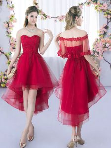 Tulle Sweetheart Sleeveless Lace Up Lace Dama Dress for Quinceanera in Wine Red