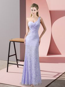 Romantic Lavender Sleeveless Floor Length Beading and Lace Criss Cross