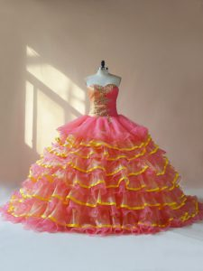 Pink Quinceanera Gowns Sweet 16 and Quinceanera with Beading and Ruching Sweetheart Sleeveless Lace Up