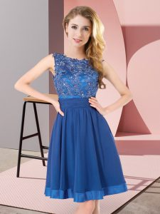 Amazing Blue Sleeveless Beading and Appliques Mini Length Quinceanera Dama Dress