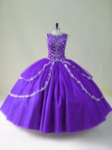 Purple Quinceanera Dress Sweet 16 and Quinceanera with Beading and Appliques Scoop Sleeveless Zipper