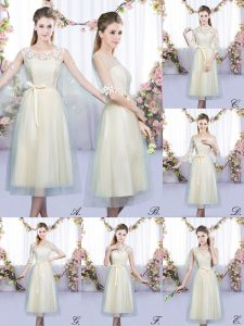 Comfortable Champagne Sleeveless Tea Length Lace and Belt Lace Up Wedding Party Dress