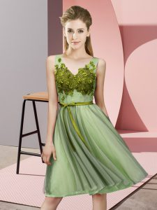 Flare Yellow Green Bridesmaid Gown Wedding Party with Appliques V-neck Sleeveless Lace Up