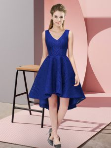 Classical A-line Bridesmaid Gown Royal Blue V-neck Lace Sleeveless High Low Zipper