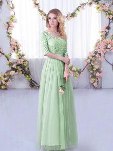 Top Selling Floor Length Apple Green Quinceanera Dama Dress V-neck Half Sleeves Side Zipper