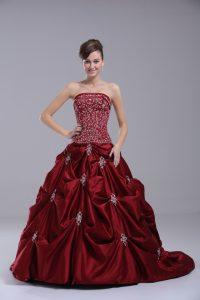 Inexpensive Taffeta Strapless Sleeveless Brush Train Lace Up Beading and Embroidery Wedding Dress in Wine Red