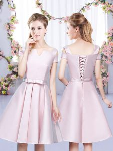 Perfect Bowknot Bridesmaid Gown Baby Pink Lace Up Sleeveless Mini Length