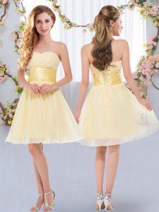 Belt Vestidos de Damas Yellow Lace Up Sleeveless Mini Length