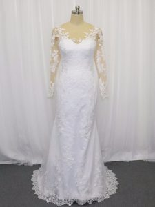 White Wedding Gown Tulle Brush Train Long Sleeves Lace