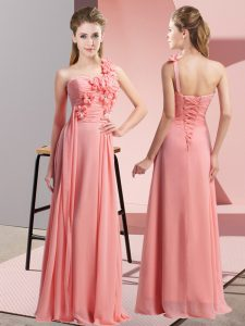 Sleeveless Lace Up Floor Length Hand Made Flower Bridesmaid Gown