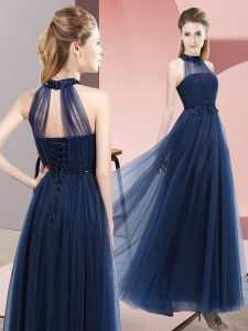Lovely Floor Length Navy Blue Bridesmaids Dress Tulle Sleeveless Beading and Appliques