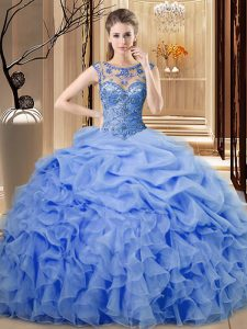 Beautiful Blue Lace Up 15 Quinceanera Dress Beading and Ruffles Sleeveless Floor Length