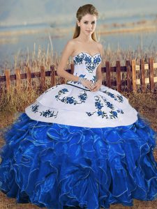 Blue And White Sleeveless Organza Lace Up Quinceanera Gowns for Military Ball and Sweet 16 and Quinceanera