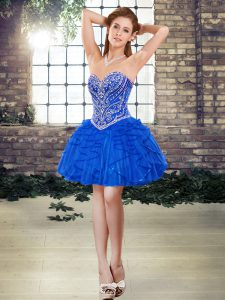 Beading and Ruffles Prom Dress Blue Lace Up Sleeveless Mini Length