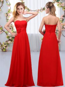 Lovely Sweetheart Sleeveless Wedding Party Dress Floor Length Hand Made Flower Red Chiffon
