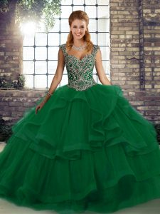 Extravagant Green Sleeveless Beading and Ruffles Floor Length 15 Quinceanera Dress
