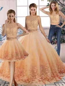 Graceful Lace Quinceanera Dresses Peach Backless Sleeveless Sweep Train